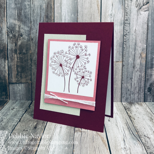 Unfrogettable Stamping | Sunday Fun Day project featuring the color combo Sahara Sand, Rococo Rose and Merry Merlot along with the retiring Dandelion Wishes stamp set and Subtle 3D embossing folder from Stampin' Up!