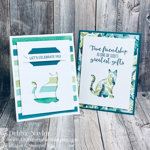 Unfrogettable Stamping | Sunday Fun Day quick & easy card set featuring the Cat punch and retiring Forever Greenery DSP from Stampin' Up!