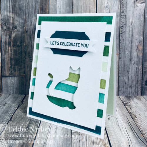 Unfrogettable Stamping | Sunday Fun Day QE card featuring the Cat and Timeless Label punches, Forever Greenery DSP and Itty Bitty Birthday stamp set from Stampin' Up!