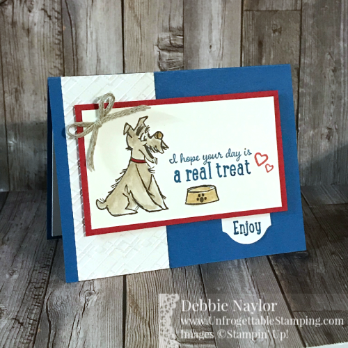 Unfrogettable Stamping | July 2020 Stampers Dozen Blog Hop celebrating Red, White and Blue birthday card featuring the Pampered Pets stamp set and Absoultely Argyle 3D embossing folder from Stampin' Up!