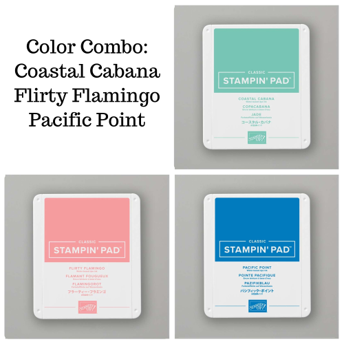 Unfrogettable Stamping | Fabulous Friday Colof Combo featuring Coastal Cabana, Flirty Flamingo and Pacific Point from Stampin' Up!