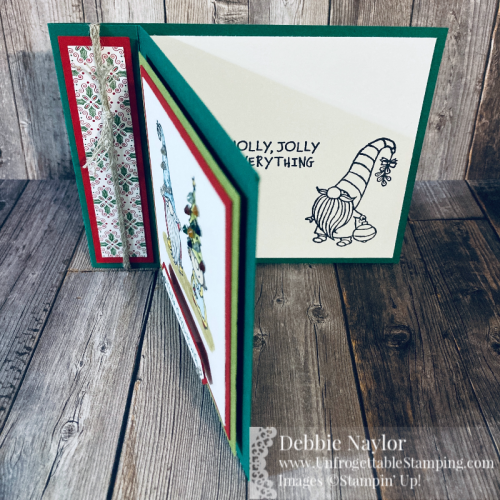 Unfrogettable Stamping | Fabulous Friday Bling Christmas card featuring the Gnome for the Holidays stamp set, 'Tis the Season DSP, Holiday Rhinestones, Braided Linen Trim, Classic Label punch and Stampin' Blends from Stampin' Up!