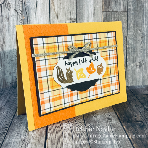 Unfrogettable Stamping | Fabulous Friday Fall card featuring the Banner Year stamp set, Plaid Tidings DSP, Label Me Lovely and Timeless Label punches by Stampin' Up!