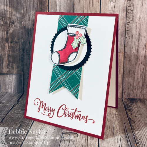 Unfrogettable Stamping | Fabulous Friday Quick & Easy Christmas card featuring the Tag Buffet stamp set and Plaid Tidings DSP by Stampin' Up!