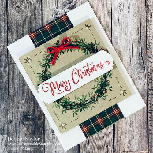 Unfrogettable Stamping | Fabulous Friday Red and Green Christmas card featuring the Ornamental Envelopes and Tag Bufet stamp sets, Lovely Labels Pick-a-Punch, Real Red Braided Linen Trim, Pearl Jewels and Plaid Tidings DSP from Stampin' Up!