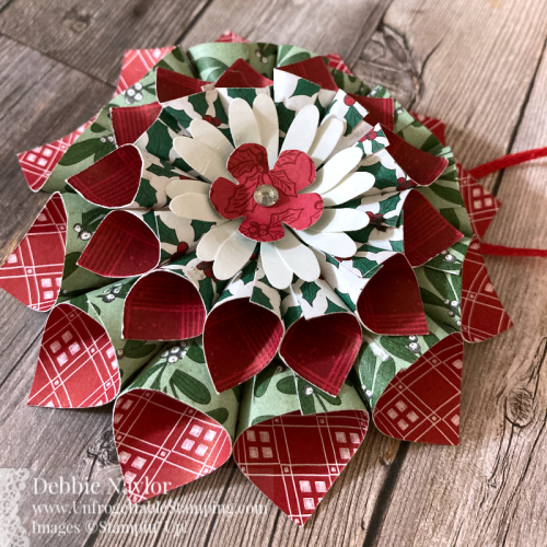 "Unfrogettable Stamping | Fabulous Friday Christmas Ornament featuring the 'Tis the Season 6"" x 6"" DSP and Medium Daisy and Small Bloom punches from Stampin' Up!"