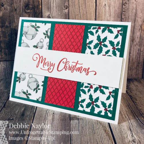 Unfrogettable Stamping | Countdown to Christmas 2020 QE Christmas card featuring the 'Tis the Season DSP and Tag Buffet stamp set from Stampin' Up!