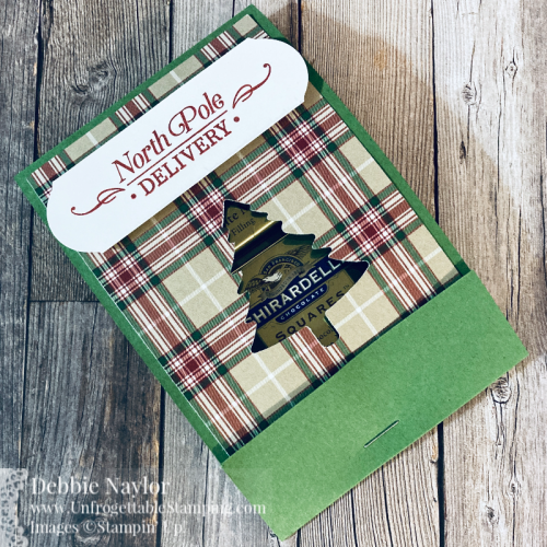 Unfrogettable Stamiping | Countdown to Christmas 2020 candy favor featuring the Plaid Tidings DSP, Perfeclty Plaid DSP and Pine Tree punch from Stampin' Up!