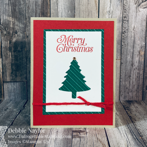 Unfrogettable Stamping | Countdown to Christmas 2020 QE Christmas card featuring the Pine Tree punch, 'Tis the Season DSP and Perfectly Plaid stamp set from Stampin' Up!