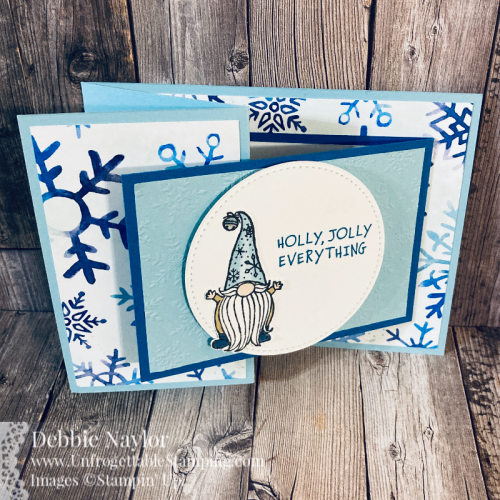 Unfrogettable Stamping | Fabulous Friday fun fold Christmas card featuring the Joy Fold and Z-Fold techniques with product including Gnome for the Holidays stamp set, Snowflake Stamp set, Snowflake Splendor DSP, Winter Snow embossing folder and Stitched Shapes dies from Stampin' Up!
