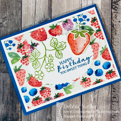 Unfrogettable Unfrogettable Stamping | Sunday Fun Day birthday card feturing the Sweet Strawberry stamp set and coordinating Strawberry Builder punch available from Stampin' Up! in the 2021 January-June catalogStamping Sunday Fun Day Sweet Strawberry birthday card2