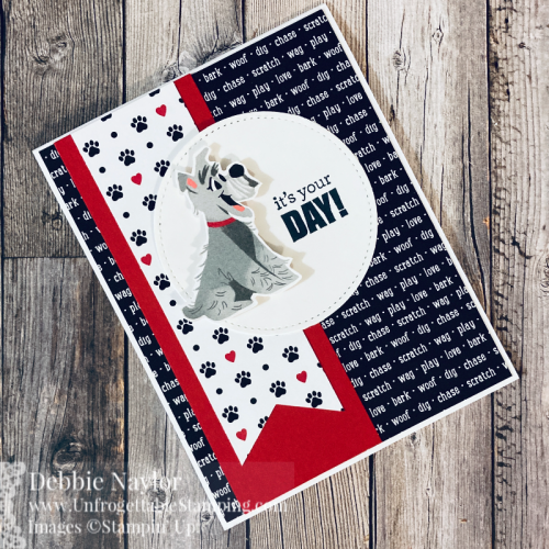 Unfrogettable Stamping | Sunday Fun Day birthday card featuring the Pampered Pets stamp set, Playful Pets DSP, Triple Banner punch and Stitched Shapes dies from Stampin' Up!