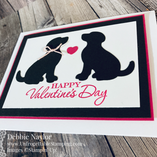 Unfrogettable Stamping | Sunday Fun Day puppy love Valentine's Day card featuring the Dog Builder punch and Heart to Heart stamp set from Stampin' Up!