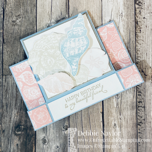 Unfrogettable Stamping | February 2021 Stampers Dozen Blog Hop center fold birthday card featuring the Friends Are Like Seashells bundle and Sand & Sea DSP from Stampin' Up!