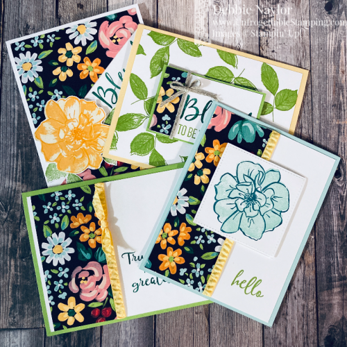 "Unfrogettable Stamping | 6"" x 6"" One Sheet Wonder card set featuring the SAB level 1 Flower and Field DSP and To A Wild Rose stamp set from Stampin' Up!"
