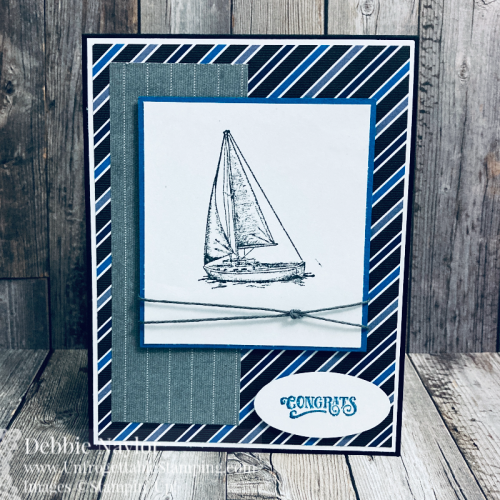 Unfrogettable Stamping | Sunday Fun Day masculine card featuring the Sailing Home stamp set and Well Suited DSP from Stampin' Up!