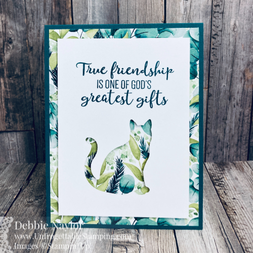 Unfrogettable Stamping | Sunday Fun Day QE card featuring the Cat punch, Forever Greenery DSP and To a Wild Rose stamp set from Stampin' Up!