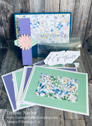 Unfrogettable Stamping | June 2021 Stampers Dozen Blog Hop Simply Scored Scoring Tool Gift Box and Card Set featuring Hand Penned DSP