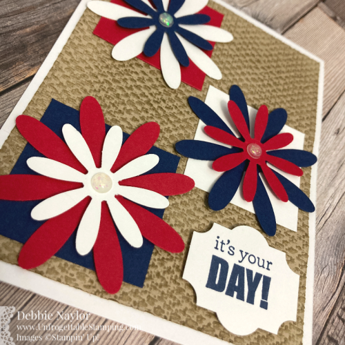 Unfrogettable Stamping | Sunday Fun Day Red White and Blue birthday card featuring the Tasteful Textile 3D embossing folder, Daisy, Medium Daisy and Everyday Label punches from Stampin' Up!