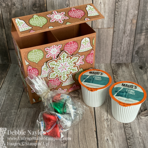 Unfrogettable Stamping | Sunday Fun Day Chocolates and Coffee gift box featuring the Gingerbread & Peppermint DSP from the Stampin' Up! 2021 Holiday catalog