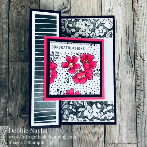 Unfrogettable Stamping |  Sunday Fun Day congratulations card featuring the Sale-a-Bration selection Beautifully Penned DSP and Hand-Penned Petals stamp set from Stampin' Up!