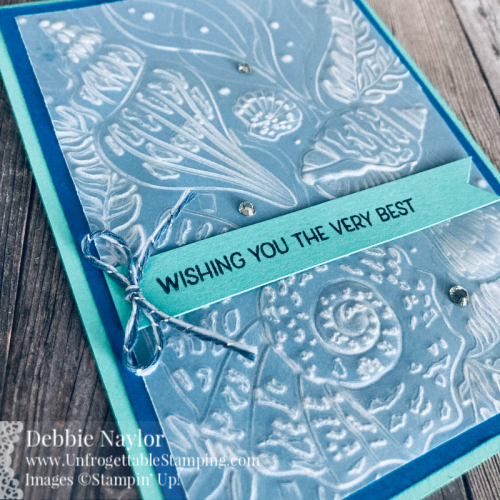 Unfrogettable Stamping | Sunday Fun Day birthday card featuring Vellum cardstock, Friends are Like Seashells stamp set, Seashells 3D embossing folder, Flowers for Every Season ribbon combo pack and basic Rhinestone Jewels from Stampin' Up!
