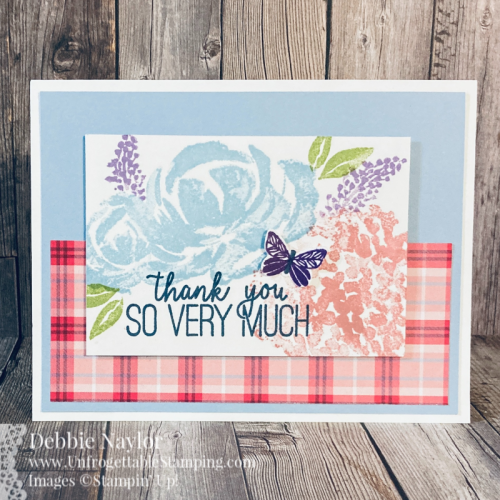 Unfrogettable Stamping | Fabulous Friday Quick & Easy thank you card featuring the Plaid Tidings DSP pack, Butterfly Duet punch, Beautiful Friendship and Butterfly Gala photopolymer stamp sets from Stampin' Up!