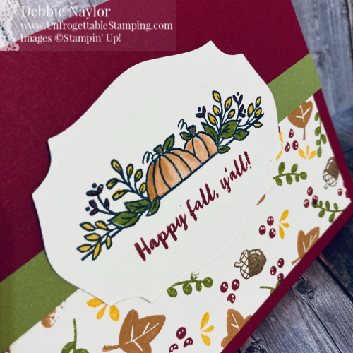 Unfrogettable Stamping | Sept 2020 Stampers Dozen Blog Hop - Autumn Days card set featuring the Banner Year and Celebration Tidings stamp sets, Tasteful Labels Dies and Embroidered Ribbon from Stampin' Up!