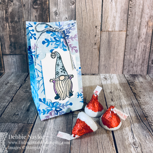 Unfrogettable Stamping | Countdown to Christmas Day 1 Favor Box featuring the Gnome for Christmas stamp set and Snowflake Splendor DSP from Stampin' Up!