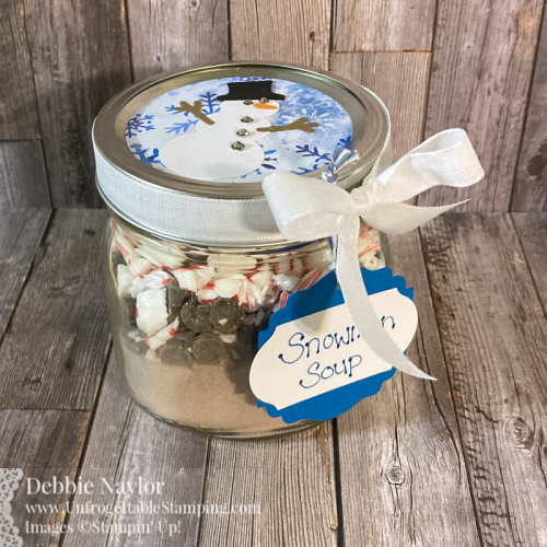 Unfrogettable Stamping | Fabulous Friday Snowman Soup gift idea featuring the Snowflake Splendor DSP and Snowman Builder punch from Stampin' Up!