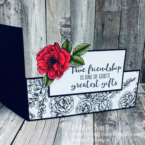 Unfrogettable Stamping | Sunday Fun Day Dutch Door fun fold card featuring the True Love 12x12 DSP and To a Wild Rose stamp set from Stampin' Up!