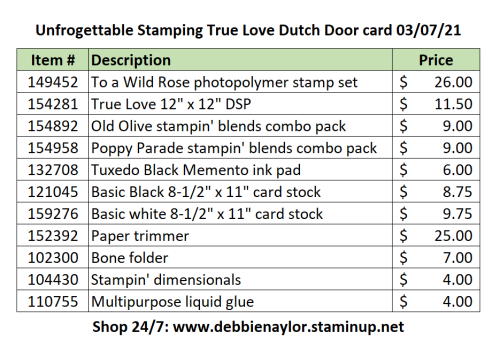 03-07-21 True Love Dutch Door card supply list