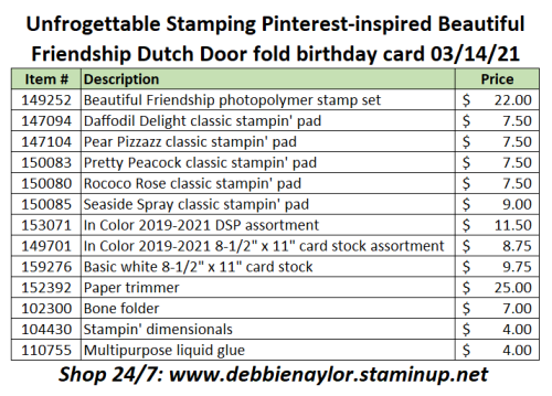 2021-03-14 Sunday Fun Day project product list