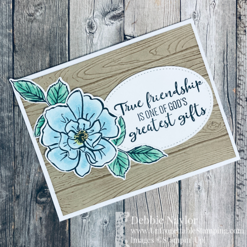 Unfrogettable Stamping | April 2021 Stampers Dozen Blog Hop: Saying Goodbye to Retiring Products card set featuring To A Wild Rose stamp set, Wild Rose dies, Stitched Shapes dies and Pinewood Planks 3D embossing folder from Stampin' Up!