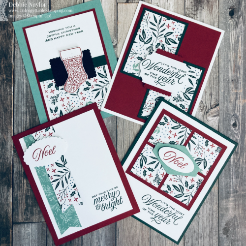 Unfrogettable Stamping | Sunday Fun Day 6x6 Tidings of Christmas DSP One Sheet Wonder card set