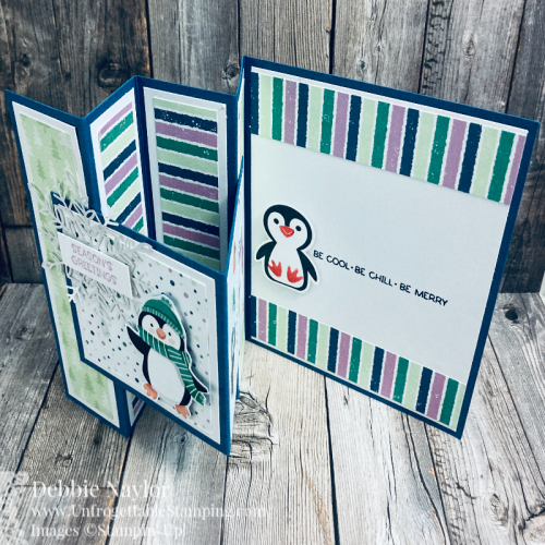 Unfrogettable Stamping | August 2021 Stampers Dozen Blog Hop 2-fold Penguin Place card featuring the Penguin Place bundle and Penguin Playmates DSP from Stampin' Up!