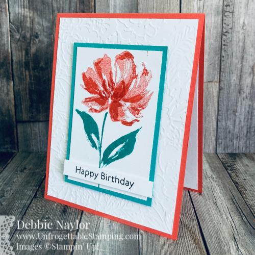 Unfrogettable Stamping | Color Hues TCH 24 Art CAS birthday card featuring the Art Gallery stamp set and Pretty Flowers embossing folder from Stampin' Up!