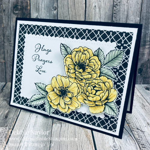 Unfrogettable Stamping | Sunday Fun Day black and white thinking of you card set featuring the True Love DSP, Positive Thoughts stamp set and Stitched So Sweetly Dies from Stampin' Up!