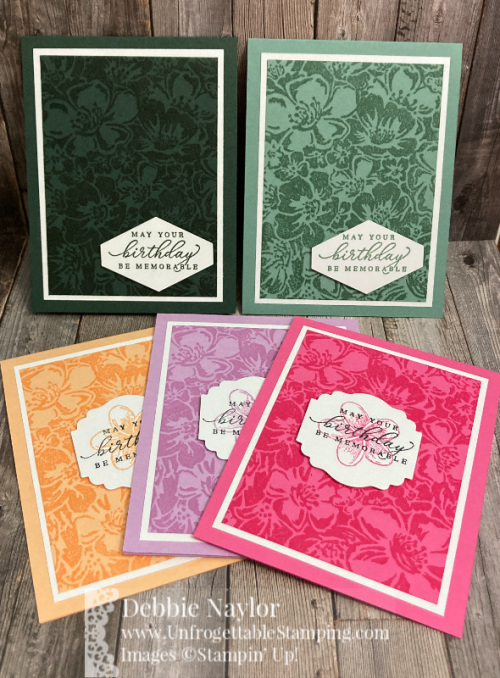 Unfrogettable Stamping | Sunday Fun Day 2021-2023 In Color birthday card set featuring the Wild Roses and Timeless Tropical stamp sets, Label Me Lovely and Tailored Tag punches by Stampin' Up!