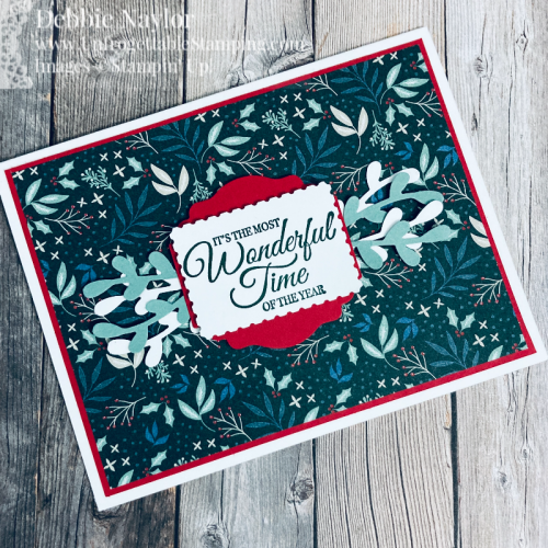 Unfrogettable Stamping | Sunday Fun Day CAS Christmas card featuring the Holly Jolly Wishes stamp set and Tidings of Christmas DSP by Stampin' Up!