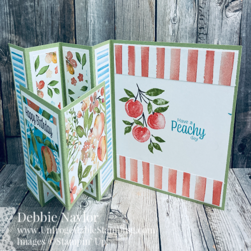 Unfrogettable Stamping | Seize the Birthday CAS fun fold birthday card featuring the Sweet as a Peach product suite from Stampin' Up!