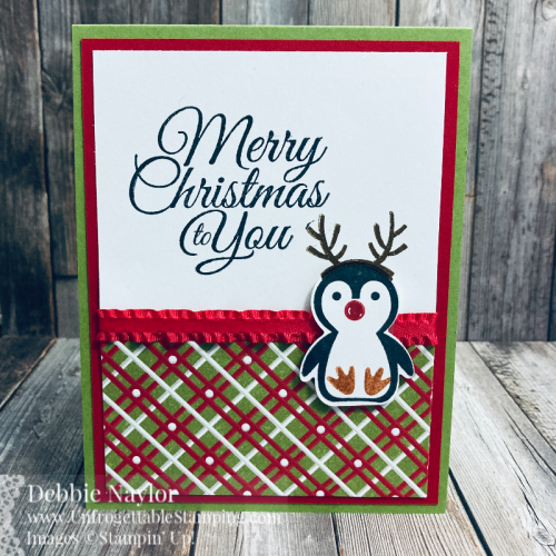 Unfrogettable Stamping | Sept 2021 Stampers Dozen Blog Hop Christmas card featuring the Holly Jolly Wishes stamp set, Penguin Place bundle and Gingerbread & Peppermint 6x6 DSP from Stampin' Up!