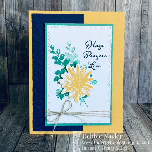 Unfrogettable Stamping | Sunday Fun Day Color Combo card featuring the Positive Thoughts stamp set, coordinating Nature's Thoughts dies, Meadow Moments embossing folder and Linen Thread from Stampin' Up!