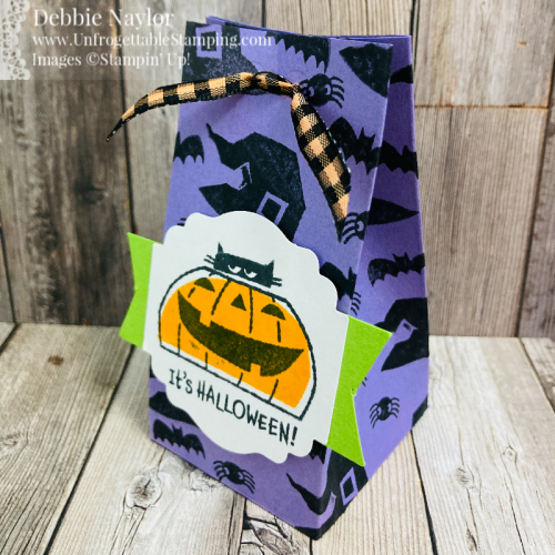 Unfrogettable Stamping | Sunday Fun Day Halloween Treat 2-4-6-8 favor box featuring the Clever Cats stamp set  from Stampin' Up!