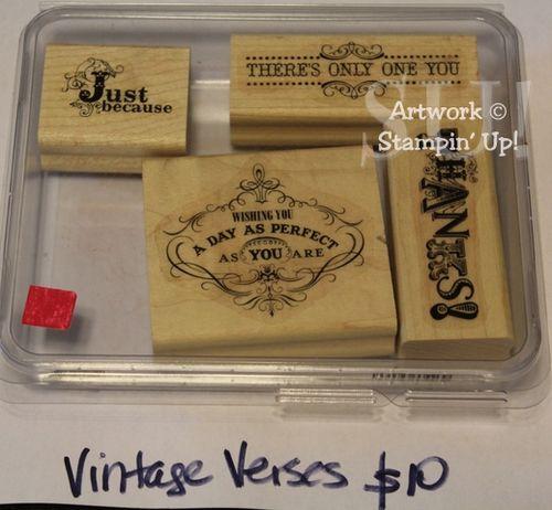 Vintage Verses stamp set, $10